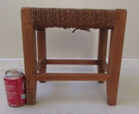 Small Vintage milking stool style footrest solid wood frame props, boutique etc. FREE DELIVERY