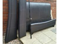 leather double bed frame. Black-brown colour. In excellent condition.