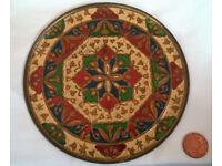 vintage enamel brass plate