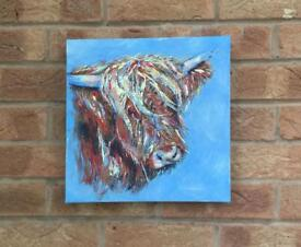 Highland Cow Abstract Canvas Art. Collect Stamford Bridge
