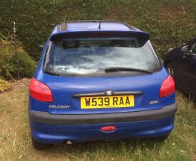 W reg, blue Peugeot 206 - Needs Work
