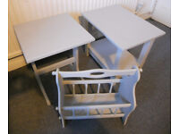 Painted Side Tables, Lamp Tables, Magazine Rack - £12 each