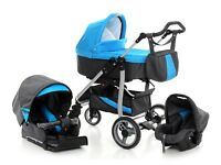 Brand New 3 in 1 Pram Pushchair Stroller Buggy Car Seat Travel System + FREE accessories