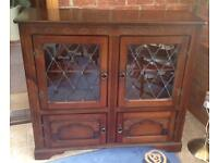 Wooden Bookcase/ Sideboard with glass fronted door