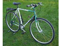 "Retro Raleigh Gemini 22"" Reynolds 531 hybrid bike, 700c, 7 spd, lock lights rack"