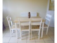Stylish Chiltern 115cm Oak and White Dining Table Set, 6 chairs - New