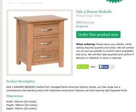 Solid oak bedroom furniture worth over £950 for sale at £475