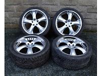 "22"" Genuine Kahn Range Rover Sport alloy wheels tyres 5x120 Discovery 3 4 BMW X5"