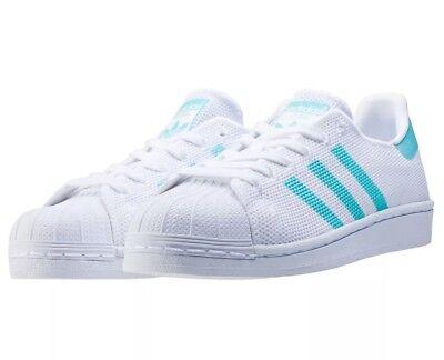 Adidas Originals New SUPERSTAR White/Easy Mint/White Shoes (BA7137) - Sz 5.5