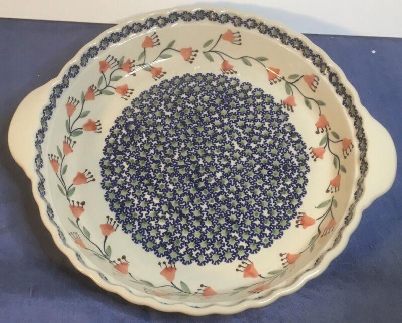 "Handmade in Poland Pottery Round Pie Baking Dish 9 1/2"" scalloped edge"