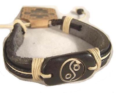 CARVED BONE LEATHER YIN YANG BRACELET jewelry JL441 mens