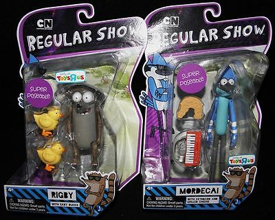 "NEW Regular Show Super Poseable Mordecai & Rigby 6"" Action Figure Lot on Rummage"