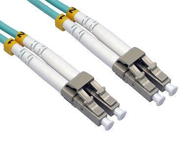 30m OM3 Aqua Fibre Optic LC LC Duplex MM 50 125 Patch LSZH Cable [006567]