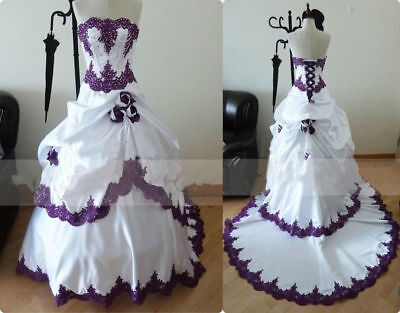 Gothic Ball Gown Wedding Dresses Lace Appliques Long Vintage Bridal Gown 2-26W](Gothic Wedding)