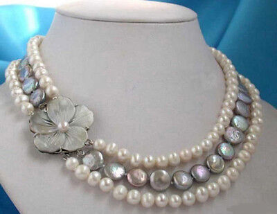 3 Rows Genuine Wite Black Button Coin Pearl Shell Flower Clasp Necklace