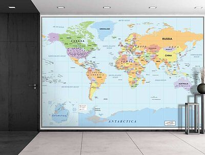 World Map Wall Mural Removable Wallpaper