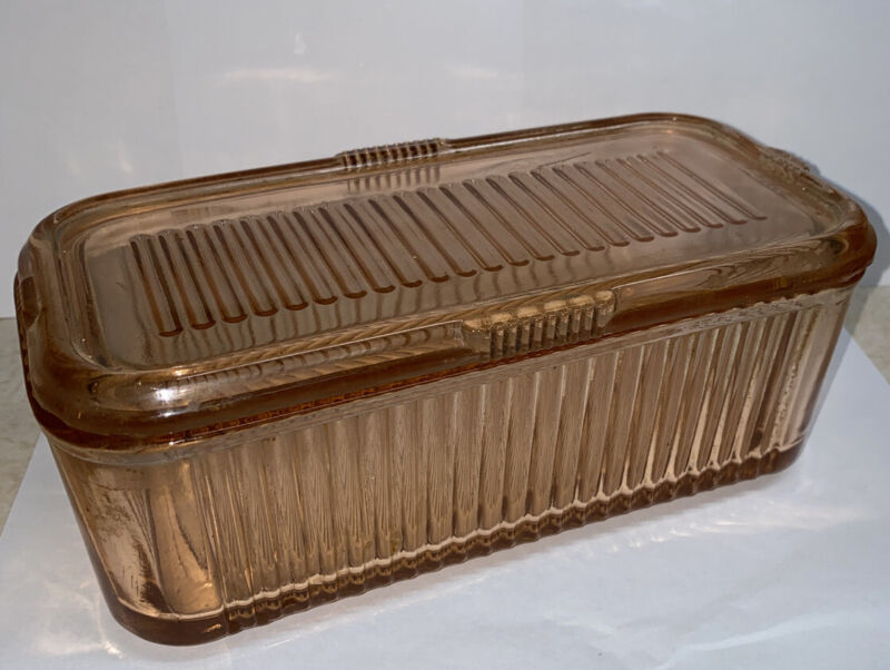 VINTAGE PINK GLASS BUTTER STORAGE CONTAINER WITH LID RIBBED DESIGN ( Vic )*
