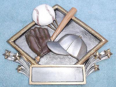 Baseball trophy resin diamond plate full color RDP01 by MPI ()