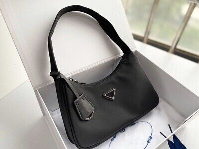 PRADA Milano Black Nylon Clutch Purse Small Shoulder Bag