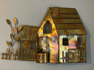 Vintage Mid-Century Metal Farmhouse Wall Art Curtis Jere? Unsigned
