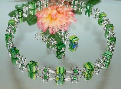 2er Schmuckset  Halskette Ohrhänger KETTE  Glas Würfel Millefiori  Grün 254Q
