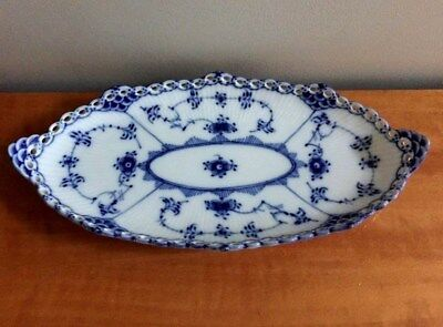 Vintage Royal Copenhagen Blue Fluted Full Lace Pickle Dish Mint 1115 1st Quality