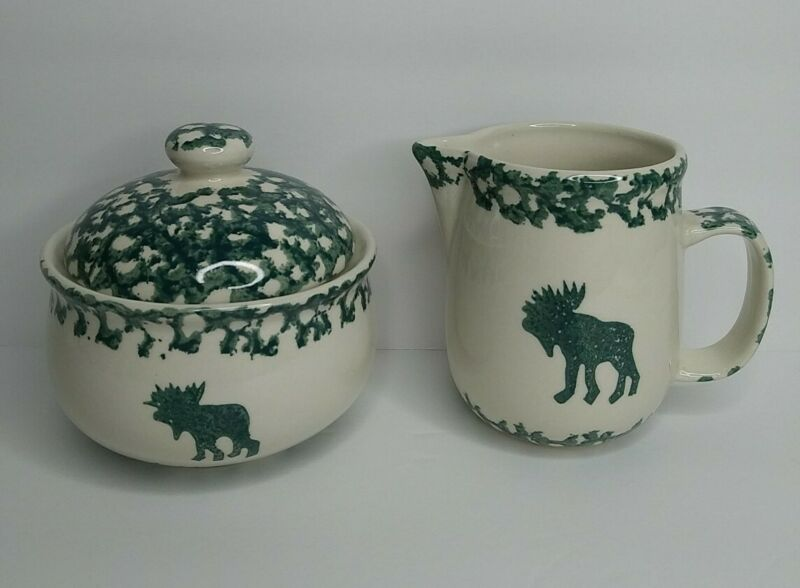 Tienshan Folk Craft Moose Country Sugar Bowl w/Lid & Creamer Forest Green Sponge