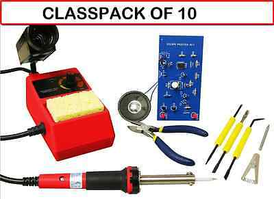 (CLASSPACK OF 10) Elenco SK-175 Deluxe Learn To Solder DIY Kit With Tools