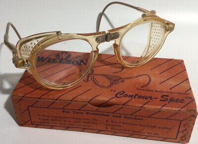 Vintage Willson Contour-Spec Clear Folding Steampunk Retro Safety Glasses & Box
