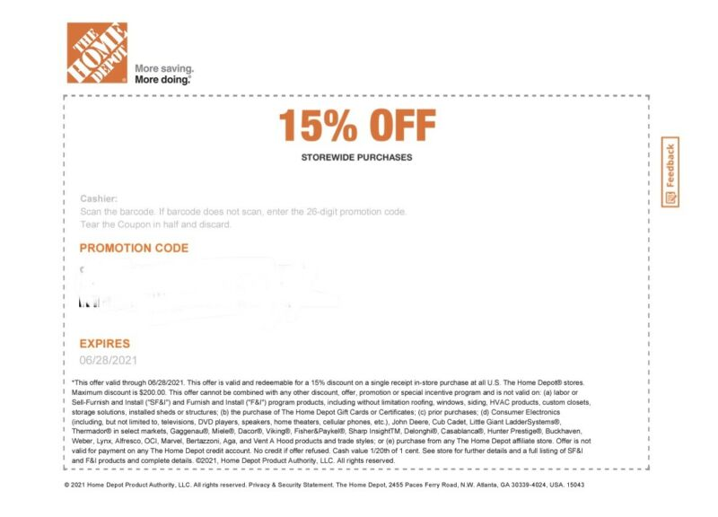 Home Depot Coupon 15% off Entire Purchase Up to $200 in-store expires 06/28/2021