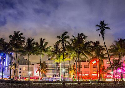 MIAMI BEACH NIGHT FLORIDA NEW A3 CANVAS GICLEE ART PRINT POSTER FRAMED - Miami Beach Florida Framed Art