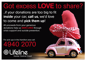 Gift your quality unwanted item's to a Lifeline Store Hamilton North Newcastle Area Preview