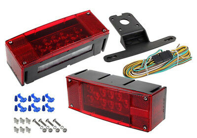 Rectangle LED Submersible Low Profile Light Kit Trailer Stop Brake Boat Marine