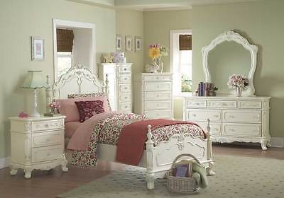 DREAMY ANTIQUE WHITE 4 PC TWIN BED N/S DRESSER MIRROR BEDROOM FURNITURE -