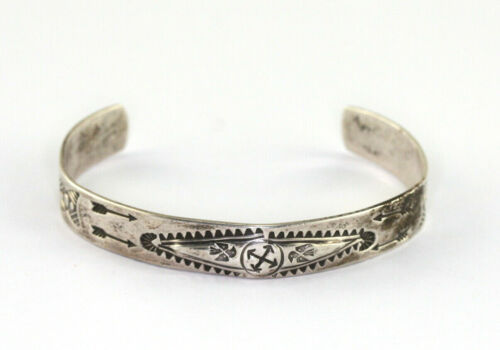Fred Harvey Era Stamped Sterling Silver Cactus Thunderbird Arrow Cuff
