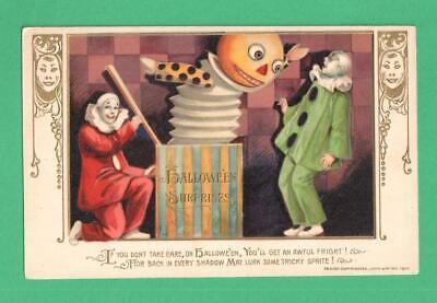 1913 WINSCH MASK SERIES HALLOWEEN POSTCARD PIERROTS HUGE JACK-IN-THE-BOX!