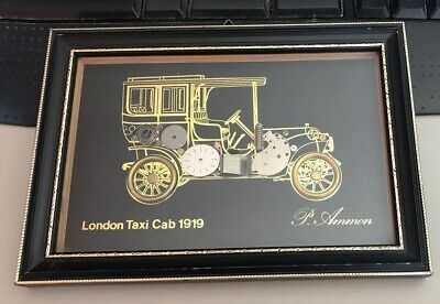 P Ammon Steampunk Art London Taxi Cab 1919 Watch Parts Signed Framed Wall Art