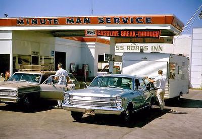 "5""x7"" UNION 76 SERVICE GAS STATION MINUTE MAN PHOTO mid 1960's 64 CHEVY MALIBU"
