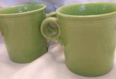 2 Perfect Fiesta Homer Laughlin Lemon Grass Green Mugs