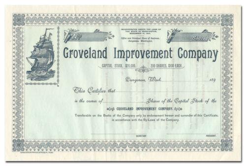 Groveland Improvement Company Stock Certificate (Dungeness, WA)