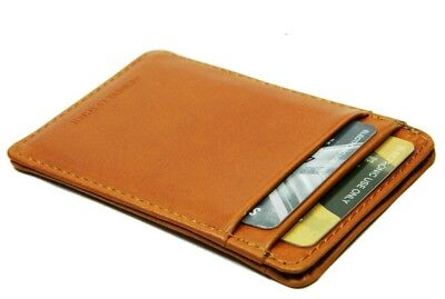 New Slim Tan leather credit card oyster holder mini small thin wallet ID case NY Slim Card Case