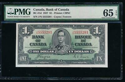 AC BC-21d Bank of Canada 1937 $1 PMG 65 EPQ J/N block GEM UNCIRCULATED