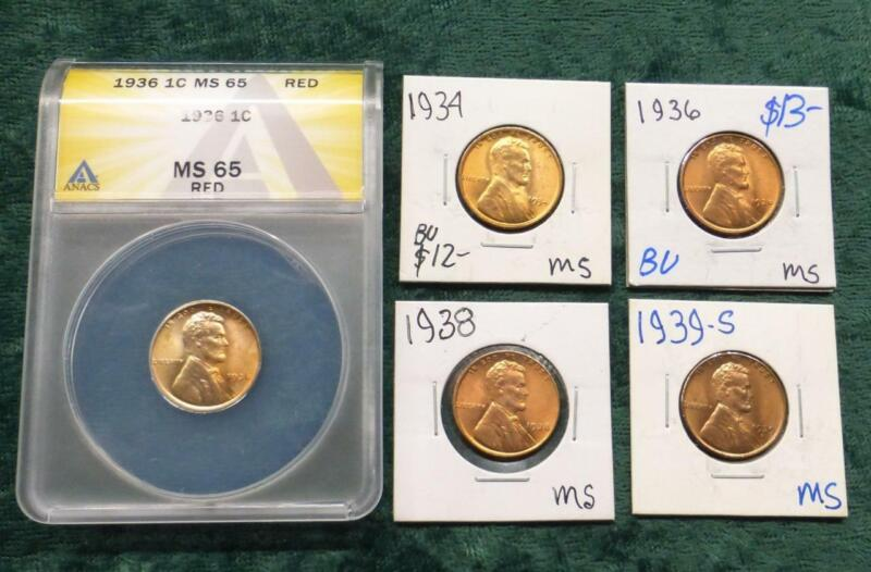 Lincoln Wheat Ears Cent 5-Coin Lot, Mixed Dates & Mint Marks, 1 ANACS Certified