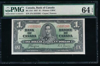 AC BC-21d Bank of Canada 1937 $1 PMG 64 EPQ J/N block