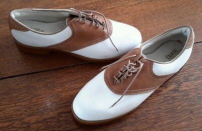 Damen Sattel Schuhe (Etonic Dri-Tech Klassisch Leder Sattel Golfschuhe Spikes Stollen Damen 8 M USA)