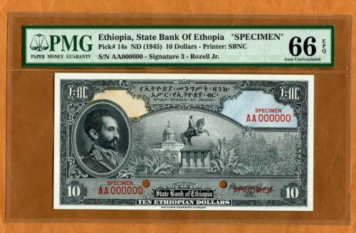 SPECIMEN Ethiopia, 10 Dollars ND (1945), P-14s, PMG-66 Gem UNC