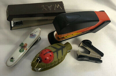 Stapler Lot Ladybug Butterfly Stapler Acco Vintage Lot Of 5 Office Supplies