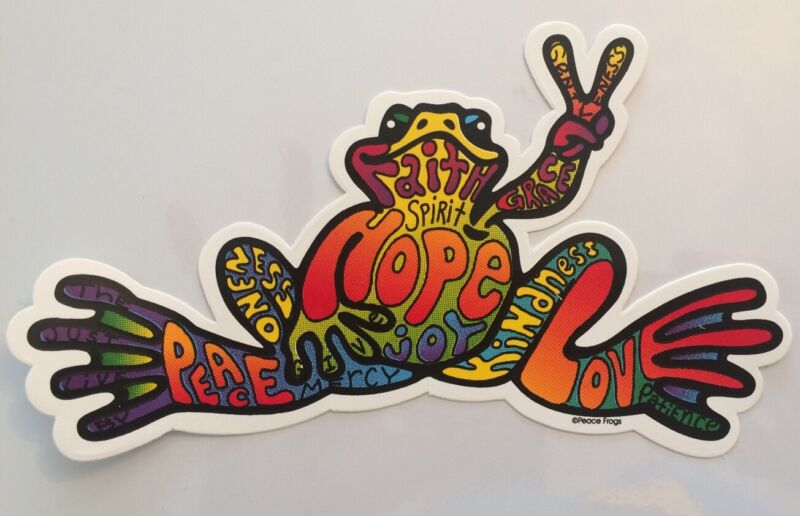 "Peace Frogs Hope Frog Sticker - 6"" x 3""- High Quality Vinyl - Made in USA"