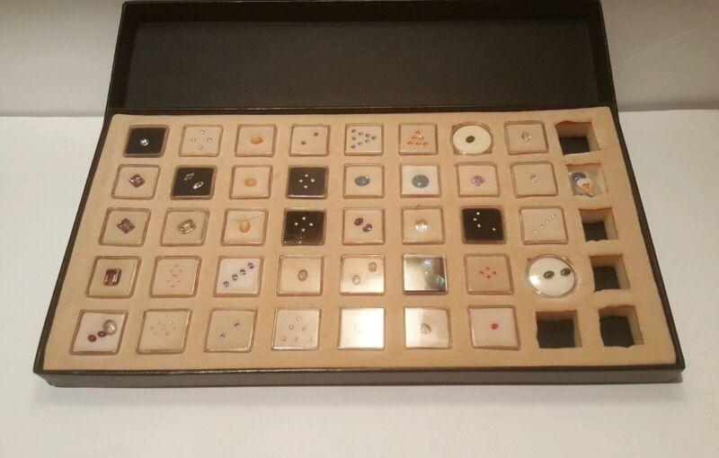 Gem Jars Display Case with Gemstones  Organizer Travel 40 gem set
