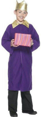 Smiffy's Purple Nativity King Wiseman Child Christmas Costume Cape Crown Large